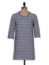 Blue Printed Tunic Dress - STREET 9