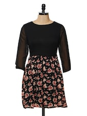 Floral Fit And Flare Dress With Satin Belt - Besiva