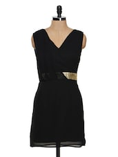 Black Faux Overlap Dress With Cluster Gold Waistband - Besiva