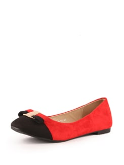 Black And Red Suede Ballerinas - Tresmode