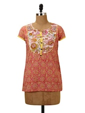 Floral Printed Cotton Short Kurti - MOTHER HOME - 952180