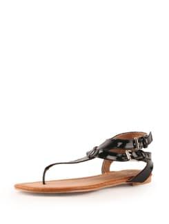 Glossy Black Sandals - Tresmode
