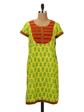 Lime Green Printed Kurti With Contrast Yoke - MOTHER HOME