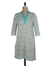 Floral Printed Soft Green Cotton Kurta - MOTHER HOME