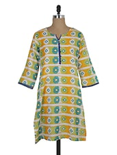 Three-Quarter Sleeved Printed Cotton Kurta - MOTHER HOME