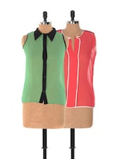 Set Of Pink Top And Green Sleeveless Top - Xniva