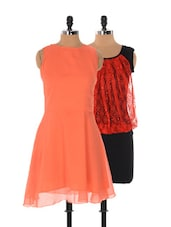 Set Of Red And Black Dress And Solid Orange Dress - Xniva