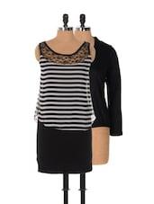 Set Of Monochrome Striped Dress And Black Shrug - Xniva