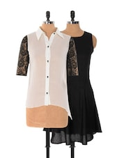 Set Of Solid Black Dress And White And Black Top - Xniva
