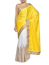 Elegant Yellow And White Georgette And Crepe Silk Fabric Saree - Aakriti