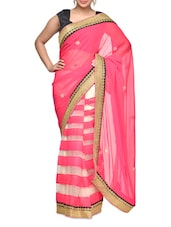 Gorgeous Pink Net And Chiffon Embroidered Saree - Aakriti