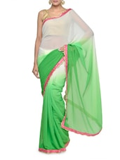 Gorgeous Shaded Green And White Saree With Pink Blouse Piece - Aakriti