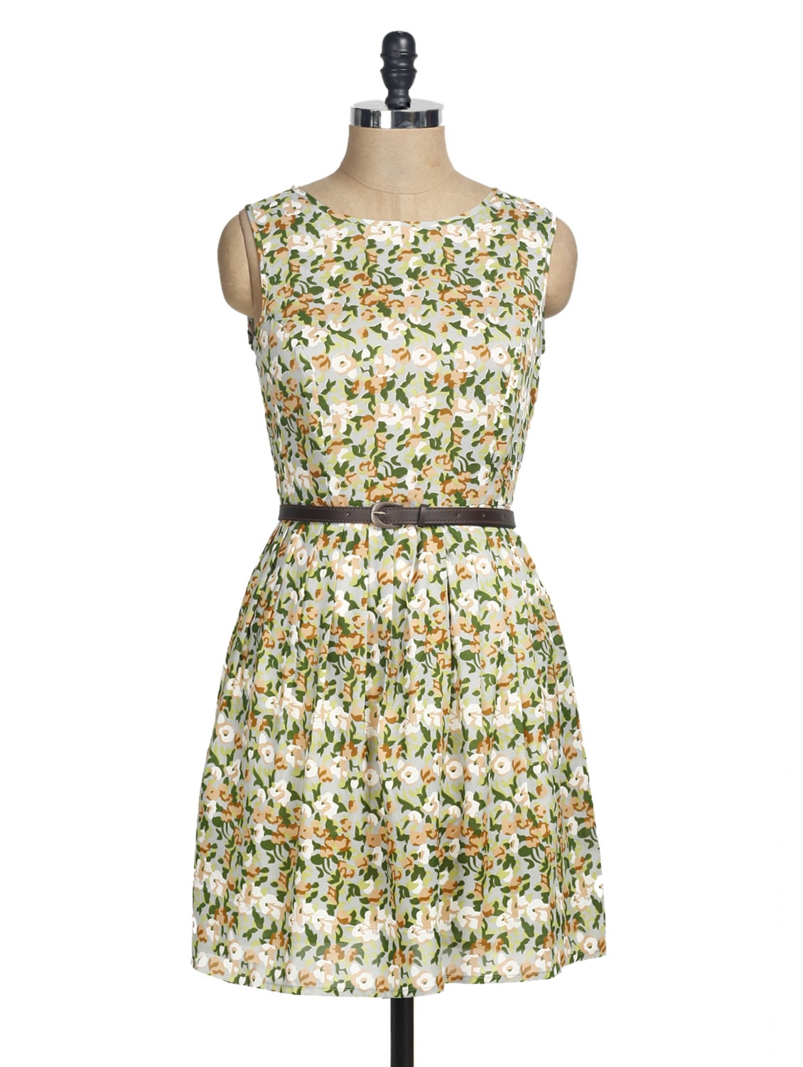 Colourful Floral Print Sleeveless Pleated Dress - La Zoire