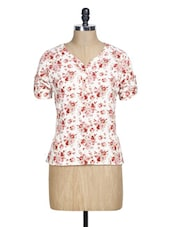 White And Red Floral Print Top - La Zoire