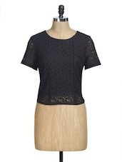 Black Lace Crop Top - La Zoire
