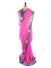 Pink Saree With Blue And Green Border - Fabdeal
