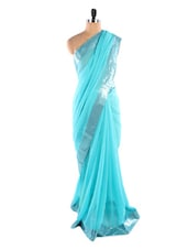 Light Blue Saree With Sequined Border - Fabdeal