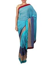 Striped Light Blue Chiffon Saree - Fabdeal