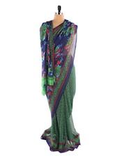 Green Floral Print Saree - Fabdeal
