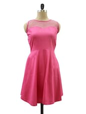Solid Pink Back Cut Out Bow Trim Dress - Miss Chase