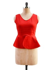 Red Peplum Top - Miss Chase