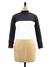Black And White Full-Sleeved Crop Top - Miss Chase