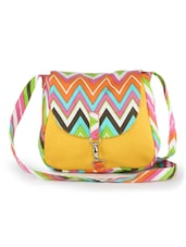 Yellow Sling Bag With Multi-coloured Zig Zag Prints - Vogue Tree