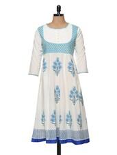 White And Blue Printed Kurti - Bhama Couture