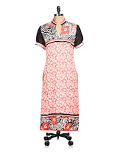 Floral Printed Red And Black Kurta - Tissu