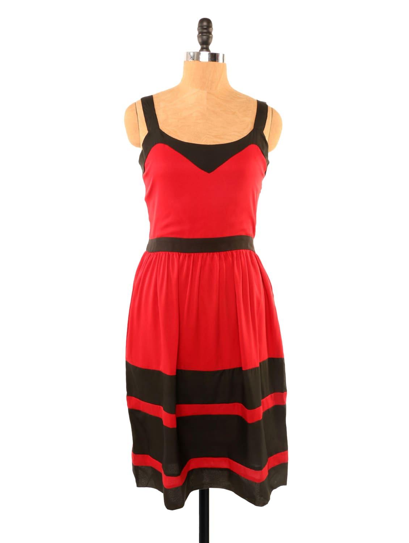 Red And Black Striped Dress - Missy Miss