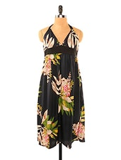 Tropical Touch Black Halter Dress - Missy Miss