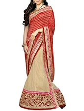 Red Chiffon And Viscous Patli Worked Saree - By