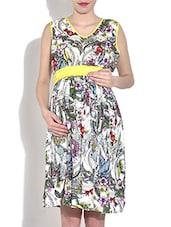 White Printed Sleeveless Viscose Maternity Dress - By