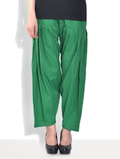 Solid Green Cotton Patiala Salwar - By