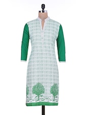 White And Green Printed Cotton Kurta - By