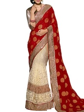 Multi Embroidered And Embellished Net Satin Skirt And Viscose Pallu Half & Half Saree(Cream,Red) - By