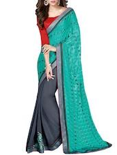 Multi Embroidered Chiffon Skirt And Chiffon Jacquard Pallu Half & Hlaf Saree(Grey,Rama) - By