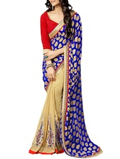 Multi Embroidered And Embellished Georgette Skirt And Jacquard Pallu Half & Half Saree(Chikoo,Blue) - By