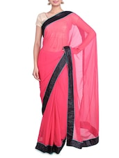 Pink Georgette Saree With Sequin Border - By