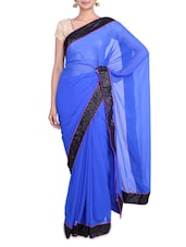 Royal Blue Georgette Saree With Sequin Border - By