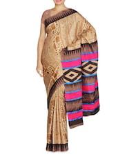 Tribal Printed Brown Manipuri Silk Saree - By