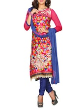 Pink Cotton Satin Printed Semi Stitched Suit Set - By