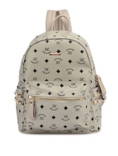 Grey Printed and Studded Faux Leather Backpack -  online shopping for backpacks