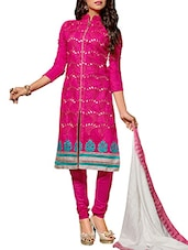 Pink Chanderi Silk Embroidered Salwar Suit Set - By