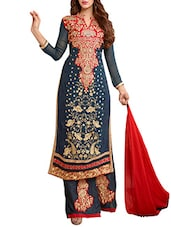 Blue Faux Georgette Embroidered Salwar Suit Set - By