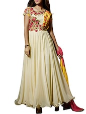 White Georgette Embroidered Salwar Suit Set - By