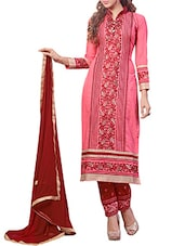Pink Cambric Cotton Embroidered Salwar Suit Set - By