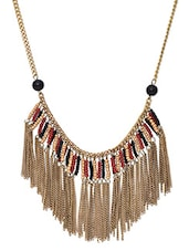 Antique Gold And Black Chain Tassel Necklace - By