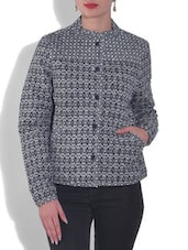 Black And White Cotton Printed Jacket - By