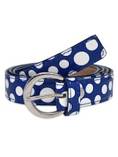Blue And White Faux Leather Polka Dots Belt - By